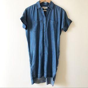 MADEWELL Denim Chambray Drop Raw Hem Shirt Dress